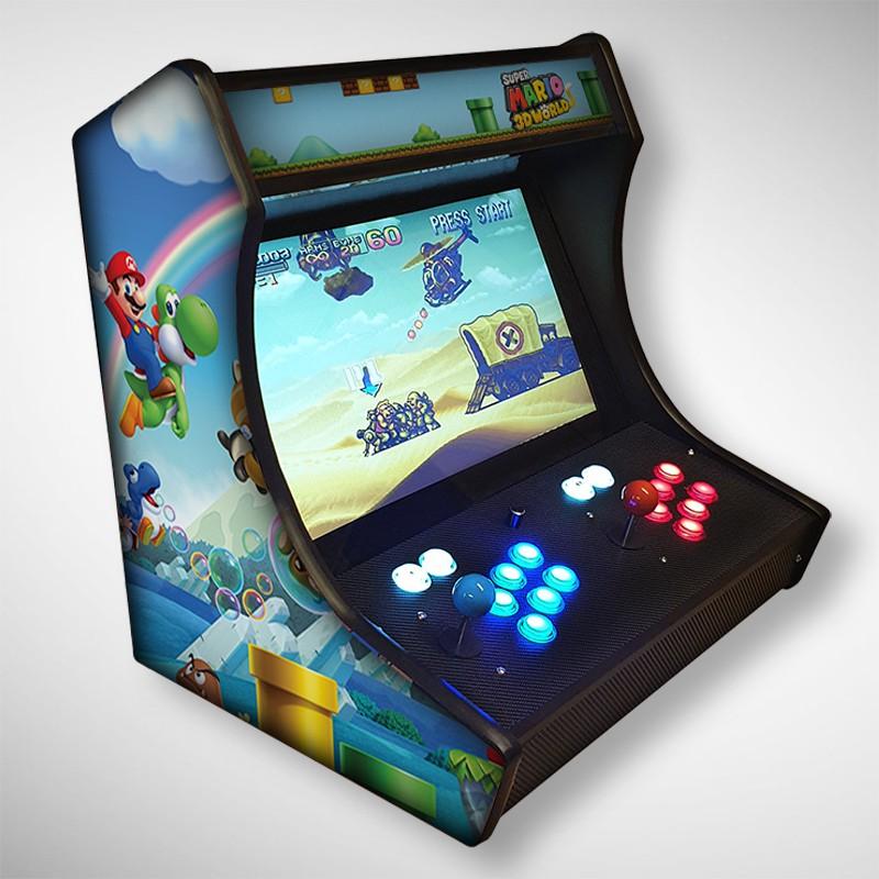 Vue de face du Bartop MARIO avec son super écran avec le jeu video MARIO
