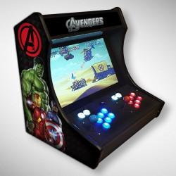 Vue de face du Bartop Avengers avec son super écran avec le film et les héros des Avengers !