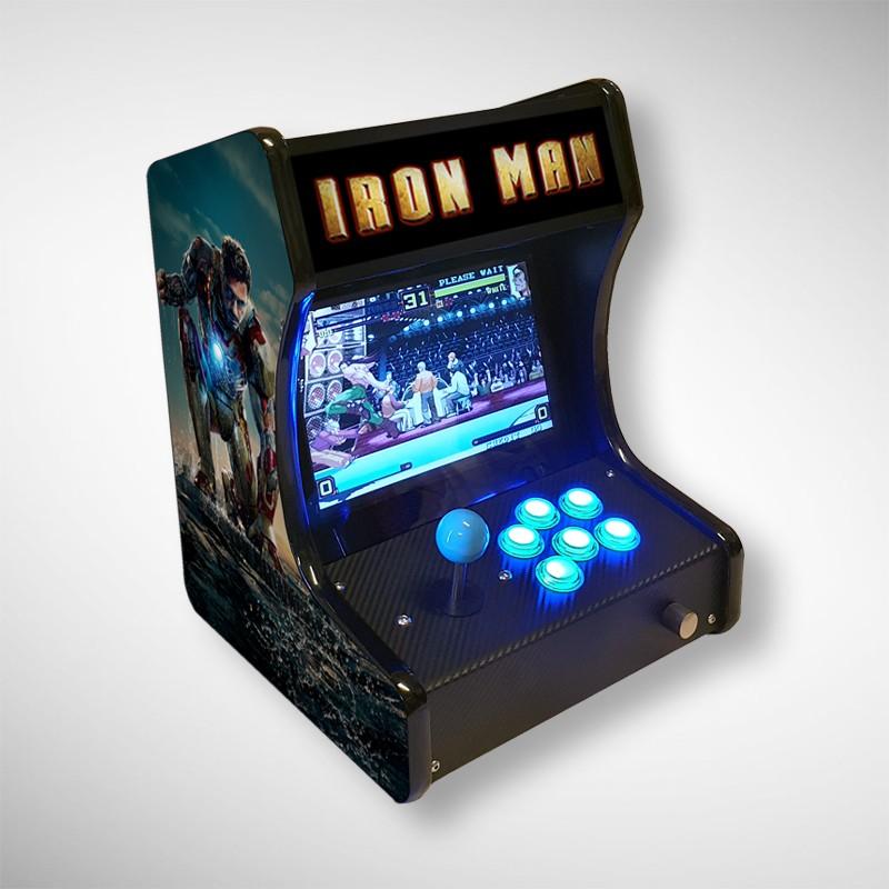 Vue de face de la mini borne d'arcade IRON MAN jouable en solo
