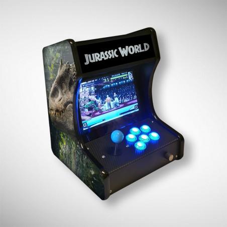 Vue de face de la mini borne d'arcade Jurassic World jouable en solo