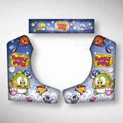 Vue des stickers Bubble Bobble pour notre Bartop, la moyenne borne d'arcade