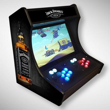 Vue de coté du Bartop JACK DANIELS l'écran au top et une partie des 1300 jeux dont METAL SLUG