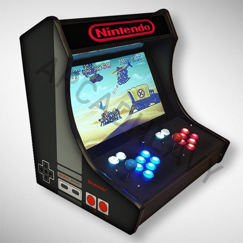 Vue de coté du Bartop NES l'écran au top et une partie des 1300 jeux dont METAL SLUG