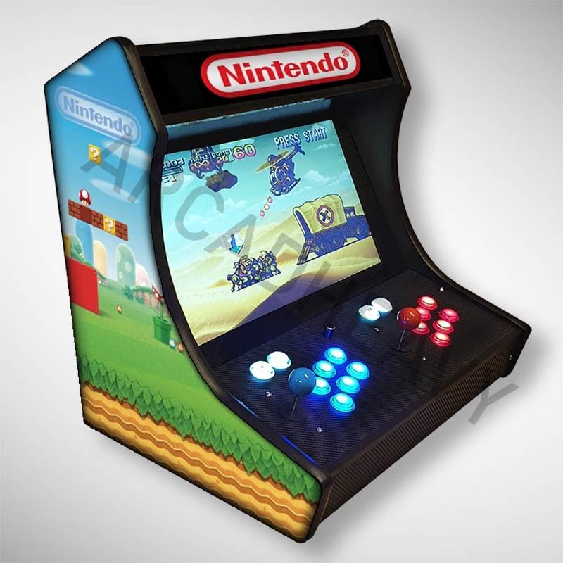 Vue de coté du Bartop NINTENDO l'écran au top et une partie des 1300 jeux dont METAL SLUG...