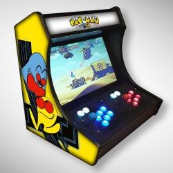 Vue de coté du Bartop PACMAN l'écran au top et une partie des 1300 jeux dont PACMAN, METALSLUG, ...