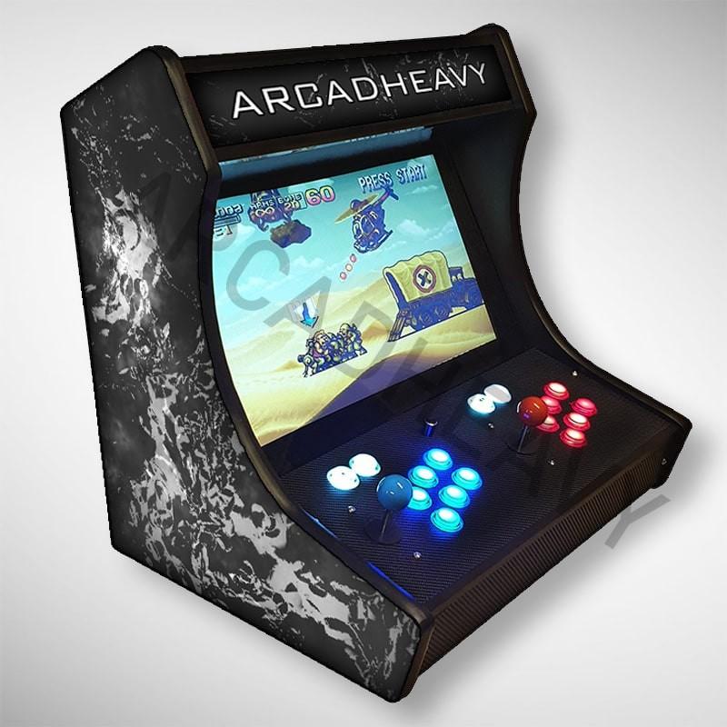 Vue de coté du Bartop Marbre luxe avec son écran au top et une partie des 1300 jeux dont METAL SLUG