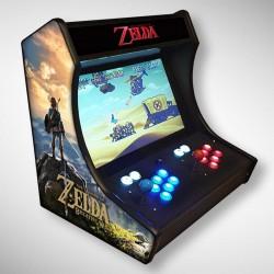 Vue de coté du premier Bartop Zelda l'écran au top et une partie des 1300 jeux dont METAL SLUG