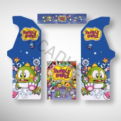 Stickers pour borne d'arcade Bubble Bobble permettant de jouer à pleins de jeux arcade dont Pacman