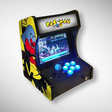 Vue de face de la mini borne d'arcade Pacman jouable en solo