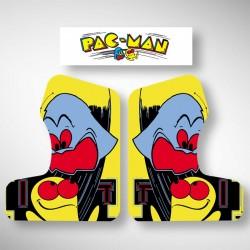 Vue des stickers Pacman pour notre miniborne d'arcade, la plus petite du marché