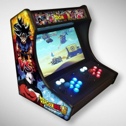 Vue de face du Bartop Dragon Ball Z avec son super écran avec le jeu video dragon ball Z