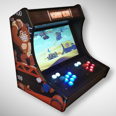 Vue de face du Bartop Donkey Kong avec son super écran avec le jeu video Metal slug x